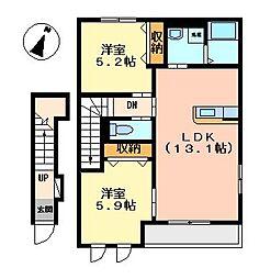 静岡県三島市清住町の賃貸アパートの間取り