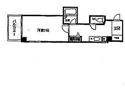 大阪府大阪市中央区和泉町1丁目の賃貸マンションの間取り