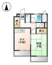 ニュ−オ−クルビル[3階]の間取り