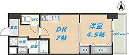 スタシオン俊徳道 8階1DKの間取り