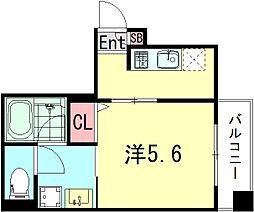 コウリュウマンション 5階1Kの間取り
