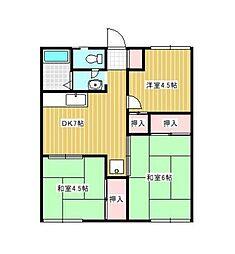 ハイツ広田B[1階]の間取り
