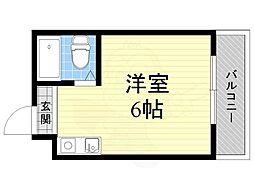 ジオナ柴島1 3階ワンルームの間取り