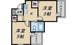 六龍苑岡町[3階]の間取り