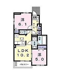 岡山県岡山市中区雄町の賃貸アパートの間取り