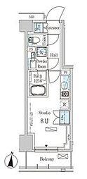 パークアクシス木場キャナル イースト 6階ワンルームの間取り