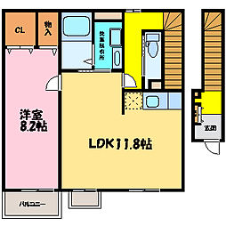滋賀県大津市弥生町の賃貸アパートの間取り