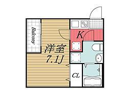 千葉県千葉市中央区院内1丁目の賃貸アパートの間取り