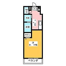 仮称 横井町計画案 2階1Kの間取り