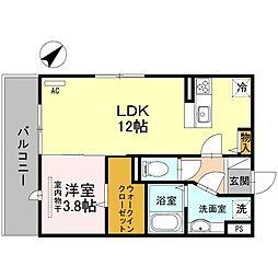 D-room東那珂[205号室]の間取り