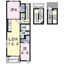 愛知県名古屋市瑞穂区丸根町1丁目の賃貸アパートの間取り
