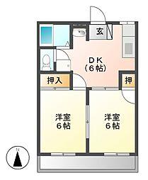 大恵第二マンション[2階]の間取り