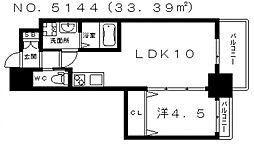 クローバー・グランデ田辺駅前 4階1LDKの間取り