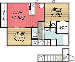 JR内房線 五井駅 バス13分 山田橋下車 徒歩5分の賃貸アパート 2階2LDKの間取り