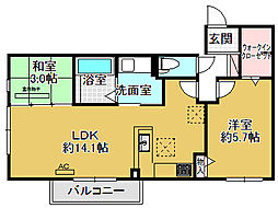 大阪府箕面市小野原西5丁目の賃貸アパートの間取り