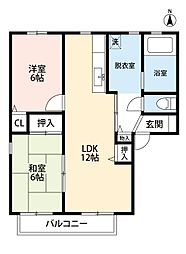 エヴァーグリーン紫の池 B棟[2階]の間取り