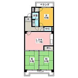 香流シンシア[4階]の間取り