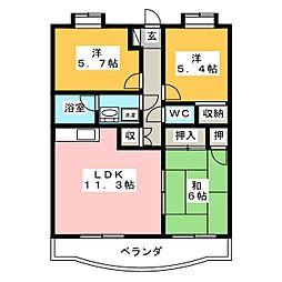 静岡県富士市宮下の賃貸マンションの間取り
