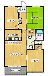 山口マンション[4階]の間取り