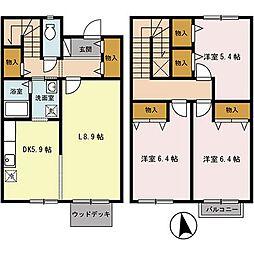 栃木県宇都宮市桜5丁目の賃貸アパートの間取り