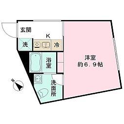 都営三田線 春日駅 徒歩10分の賃貸マンション 4階ワンルームの間取り