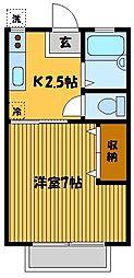 東京都豊島区目白4丁目の賃貸アパートの間取り