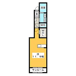 岐阜県岐阜市西中島6の賃貸アパートの間取り