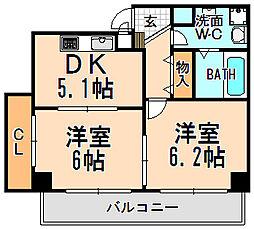 兵庫県伊丹市昆陽南5丁目の賃貸マンションの間取り