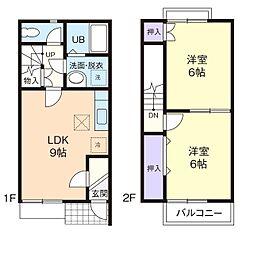 [テラスハウス] 神奈川県厚木市林3丁目 の賃貸【神奈川県/厚木市】の間取り