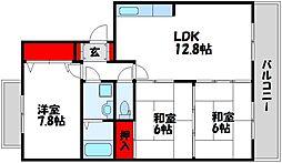 シャトーリキマス 3階3LDKの間取り