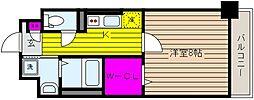 阪神本線 石屋川駅 徒歩8分の賃貸マンション 4階1Kの間取り
