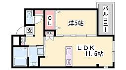 JR東海道・山陽本線 魚住駅 徒歩2分の賃貸マンション 5階1LDKの間取り