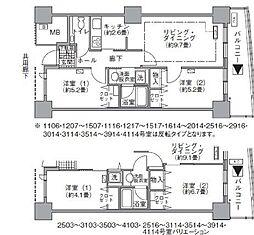 アクティ汐留 28階2LDKの間取り
