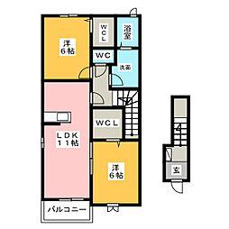 クレストII[2階]の間取り