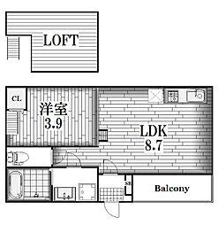 モメンタム志賀本通[1階]の間取り