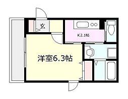 JR南武線 川崎新町駅 徒歩8分の賃貸マンション 1階1Kの間取り