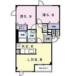 北海道札幌市南区川沿七条4丁目の賃貸アパートの間取り