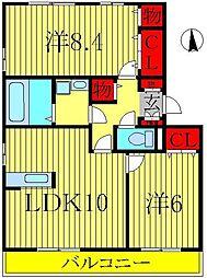 ベルレージュB棟[1階]の間取り