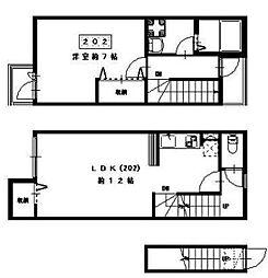 カーサ恵比寿壱番館 2階1LDKの間取り