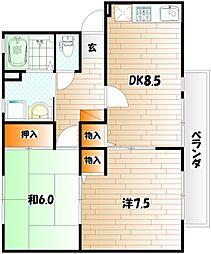 ガーデンヒルズ B棟[2階]の間取り