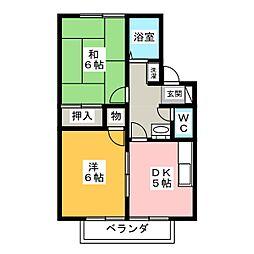 東山ハイツ B棟[1階]の間取り