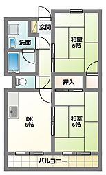 大阪府門真市常盤町の賃貸マンションの間取り
