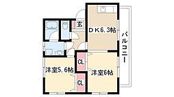 愛知県名古屋市天白区向が丘3の賃貸アパートの間取り