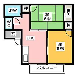 リリーハイツトキワ B棟[2階]の間取り