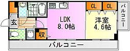 JR芸備線 矢賀駅 徒歩13分の賃貸マンション 8階1LDKの間取り
