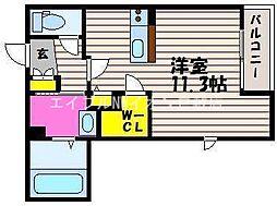 水島臨海鉄道 倉敷市駅 バス10分 福島中下車 徒歩27分の賃貸マンション 1階ワンルームの間取り