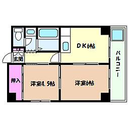 兵庫県神戸市灘区深田町2丁目の賃貸マンションの間取り
