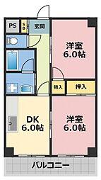 サンハイツ高井田[4階]の間取り