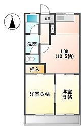 ファインシティ小川B[1階]の間取り