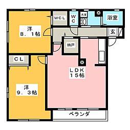 サンクレスト南仙台II[2階]の間取り